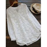 Женское Цветочная вышивальная блузка