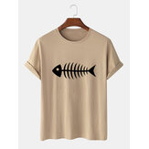 100% Cotton Funny Cartoon Fish Bones Print Casual Short Sleeve T-Shirts