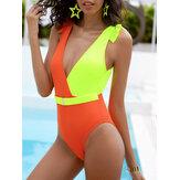 مغاير اللون مرقع بحزام مزين بكشكشة One قطعة ملابس شاطئ بدون ظهر للسيدات