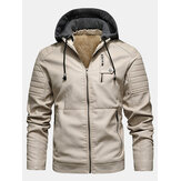 Mens PU Leather Plus Velvet Zip Front Thicken Hooded Jackets With Zipped Welt Pockets