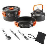 6PCS / Set Camping ensemble de cuisson antiadhésif Pots + casseroles + bols + bouilloire Kit de batterie de cuisine extérieure