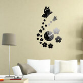Honana DX-X7 Creative Butterfly 3D Acrylique Miroir Autocollant mural Quartz Horloges Montre Grand Décoration