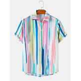 Camisas de manga corta casuales ligeras gradiente de impresión a rayas para hombre