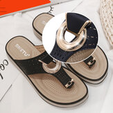 Women Metal Decor Hollow Comfy Clip Toe Beach Casual Sandals