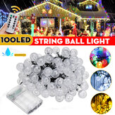12M waterdichte 100LED String Ball Light Outdoor Garden Party Wedding Decor Lamp + afstandsbediening