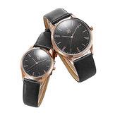 SHENGKE SK K9003 Couple Leather Simple Dial Quartz Watch
