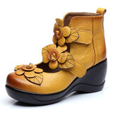 SOCOFY Women Flower Retro Hook Loop Shoes