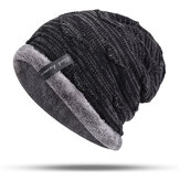 Mens Plus Velvet Knitted Stripe Beanie Hats Outdoor Winter Warm Skullcap Beanies