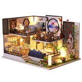M-029 Chinese Style Wooden DIY Handmade Assemble Doll House Miniature Furniture Kit with LED Effect Toy for Kids Birthday Xmas Gift House Decoration