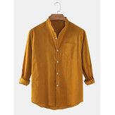 Chemises à manches longues décontractées minces de couleur unie pour hommes en coton et ligne avec poche