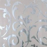 Hoge kwaliteit Victoriaans damast vliesbehang materiaal zilvergrijs