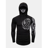 Homem Mysterious Totem Print Top Neck Cover Face Design Hoodies