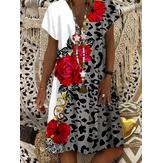 Damen Leopard Blumendruck V-Ausschnitt Lässig Kurzarm Kleid