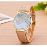 Fashion PU Leather Strap Map Dial Quartz Watch