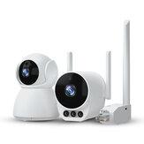 Xiaovv V380 Pro 1V2 Независимая сеть CVR камера Suite 1080P HD Горизонтальное вращение на 360 ° камера Двойной Антенна WiFi Ad Hoc Wireless Suite для дома в помещении На