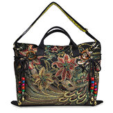 Brenice Mujer Peacock Lona Tote Bolso Chinese National Shoulder Crossbody Bolsa