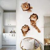 Miico3DKreativePVC-Wand-AufkleberHauptdekor-Wand-Kunst-entfernbareKatze Wand-Abziehbilder