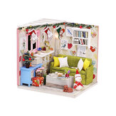 Wooden Living Room DIY Handmade Assemble Doll House Miniature Furniture Kit Education Toy with LED Light for Collection Birthday Gift