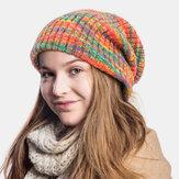 ユニセックスウールミックスレインボーカラーストライプパターンPlusベルベット厚手の暖かいカップル帽子ビーニーニット帽
