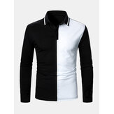 Herre Kontrastfarve To Tone Patchwork Revers Langærmet Golf Shirts