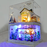 DIY Hawaii Villa Wooden Miniature LED Dollhouse Kit Creative Birthday Christmas Gift