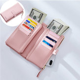 Mulheres Faux Couro Tri-fold 22 Card Slot Wallet Casual Purse