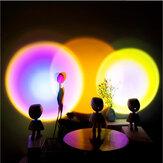 Zonsondergang Projectielamp Robot 360 ° Draaibare Sunshine Rainbow Projectorlamp Magische Sfeer Nachtlampje Traploos dimmen USB-aanraakschakelaar Tafellamp voor huisdecoratie