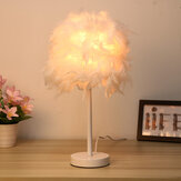Modern Feather Shade Light Bedside Table Desk Lamp Bedroom DIY Decor Gift Home Without Bulb