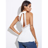 Backless Lace Trim Self-tie Design Halter Sleeveless Tank Top