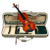 4/4アコースティックバイオリンケースフィドルストラップボックス、湿度計付き長方形キャリーケースストレージ