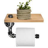 Industrial Silver Urban Rustic Iron Pipe Toilet Paper Roller Holder Bathroom Wood Shelf Storage