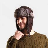 Hombres PU Cuero Terciopelo Invierno Mantener caliente Oreja Protección Color sólido Gorra de caza de cuero Trapper Sombrero