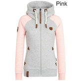 Casual Women Patchwork Hooded Zipper Sweatshirt with Pockets