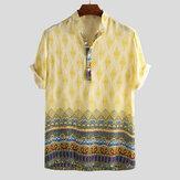 Camisas henley de manga corta con estampado étnico transpirable para hombre
