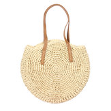 Women Beach Woven Straw Bag Bucket Rattan Shoulder Handbag Outdoor Travel