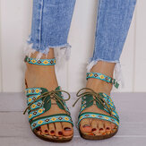 LOSTISY Women Bohemian Embroideried Folkways Open Toe Buckle Casual Summer Beach Flat Sandals