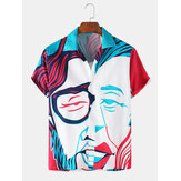 Men Funny Face Stick Figures Print Short Sleeve Holiday Casual Shirts