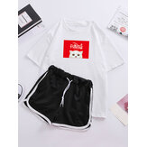 Women Cartoon Cat Print Pajamas Short Sleeve Drawstring Sports Shorts Sleepwear