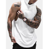 Men Cotton Sleeveless Mesh Breathable Hooded Gym Tops