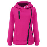 Women Solid Color Side Zipper Hooded Long Sleeve Sweatshirt