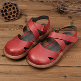 SOCOFY Hollow Out Handmade Leather Sandals