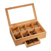 Houten Tea Coffee Box 8 Section Compartments Glazen deksel Multi Storage Spice Chest Kitchen Storage Container