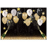 Fabric Black Golden Balloon Backdrops Party Decorations Happy Birthday Banner Favors