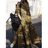 Women Cotton Vintage Print Lapel Casual Maxi Shirt Dresses With Pocket