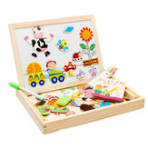 Happy Farm Wooden Jigsaw Puzzles Educational Learning Magnetic Double Sided Easel Drawing Board Games DIY Toys for Kids