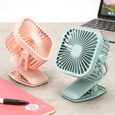 Square Shape USB Charging Mini Cooling Fan with Clip Head Desktop Small Fan