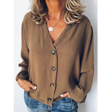 Solid Color Buttons V Neck Long Sleeve Casual Blouse