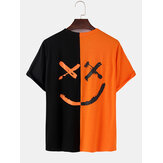 Mens Contrast Patchwork Happy Face Letter Print Cotton Loose Short Sleeve T-Shirts