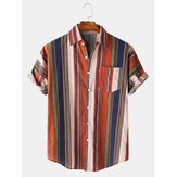 Mens Cotton Colorful Stripe Button Up Turn Down Collar Short Sleeve Casual Shirts