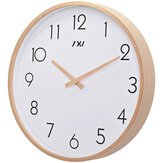 TXL 14 Inch Relojes de pared de madera de cristal Silent Quartz Non ticking Relojes de pared Sala de estar Oficina de madera Mano Simple conciso Decoración